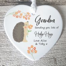 Hedge Hugs Thinking of You Ceramic Heart and Gift Message - Sending Hugs to a Relative or Friend